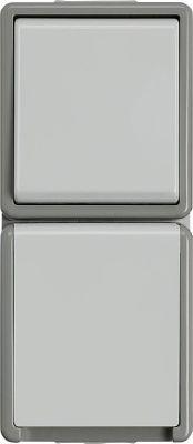 AP-Wechselschalter-Kombination Steckdose mit Klappdeckel