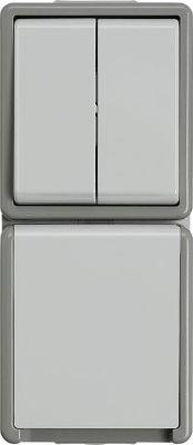 AP-Serienschalter-Kombination Steckdose mit Klappdeckel