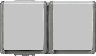 Aufputz-SCHUKO-Steckdose 75 mm x 134 mm x 54 mm 2fach/ Schut