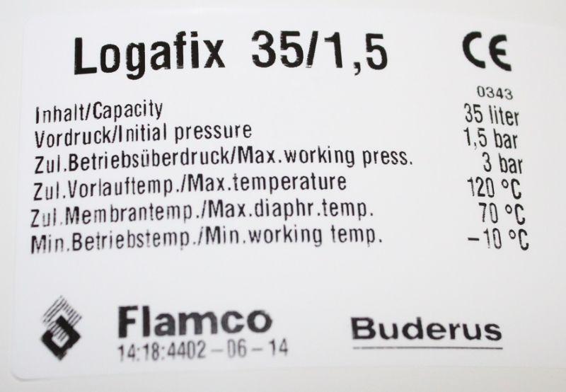 Fantastisch Buderus Logafix Ausdehnungsgefäß BU-H 35 l für Heizung, max. 3  XK13