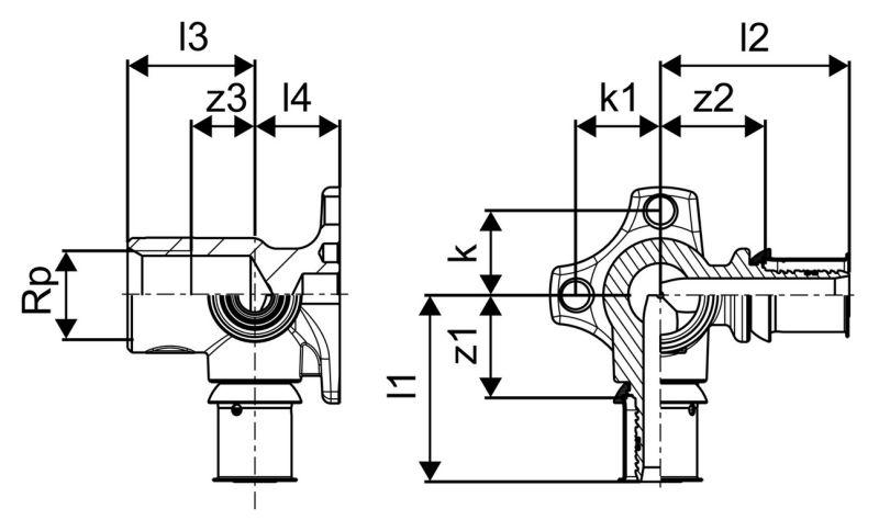 "Uponor S-Press PLUS MLC Winkelmuffe 16 x 1//2/"" IG 90 Grad"