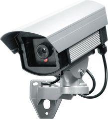 PENTATECH Aluminium Kamera-Attrappe für außen, mit LED-Blinklicht inkl. Warnaufkleber