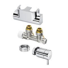 Anschluss-Set Multiblock T / pinox H, Eckform, verchromt1184