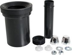 HAAS WC-Anschlussgarnitur mit Abflussrohr 90 mm mit weißen Kappen