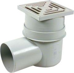 UPMANN Kellerablauf nach DIN 19599/EN 1253 150x150 mm mit 90mm Aufsatz DN 100 senkrecht