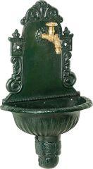 Puteus 15132-E Nostalgie-Wandbrunnen Grauguß, grün lackiert