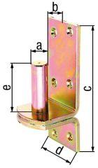 Kloben auf Platte, DI,d=20mm, 167x60mm, gelb verzinkt