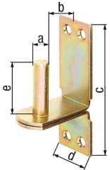 Kloben auf Platte, DII,d=16mm, 113x40mm, gelb verzinkt