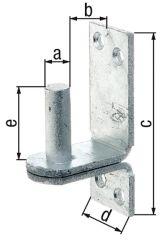 Kloben auf Platte, DII,d=13mm, 100x35mm, feuerverzinkt