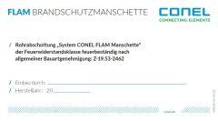 CONEL Kennzeichnungsschild für FLAM Manschette aBG Z-19.53-2462