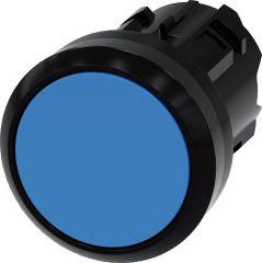 Siemens Drucktaster, 22mm, rund, blau, Druckknopf